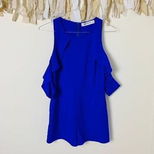 Cobalt Blue Romper with Ruffle Arm Sleeves